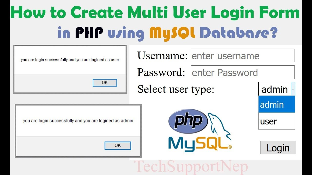 How to Create Multi User Login Form in PHP using MySQL Database? [With  Source Code]