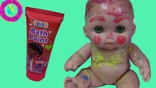 Ba Chị Em Búp Bê Em Bé Chơi Tô Màu Nước Bath Paint Fun Time Three Baby Doll Super Cute