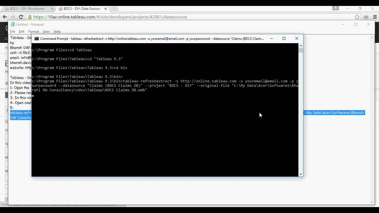 Tableau - Do it Yourself Tutorial - Refresh Extracts using Command line -  DIY -33-of-50