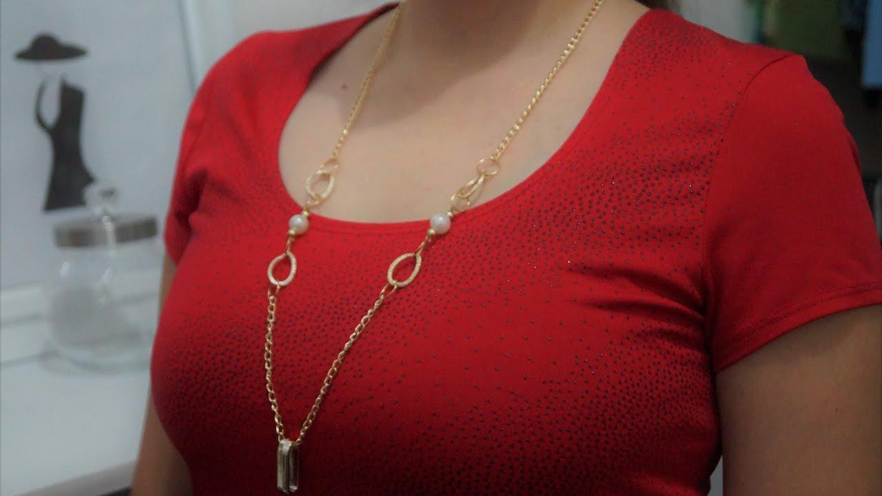 8658609056ac DIY Cómo hacer un collar largo de Moda - YouTube
