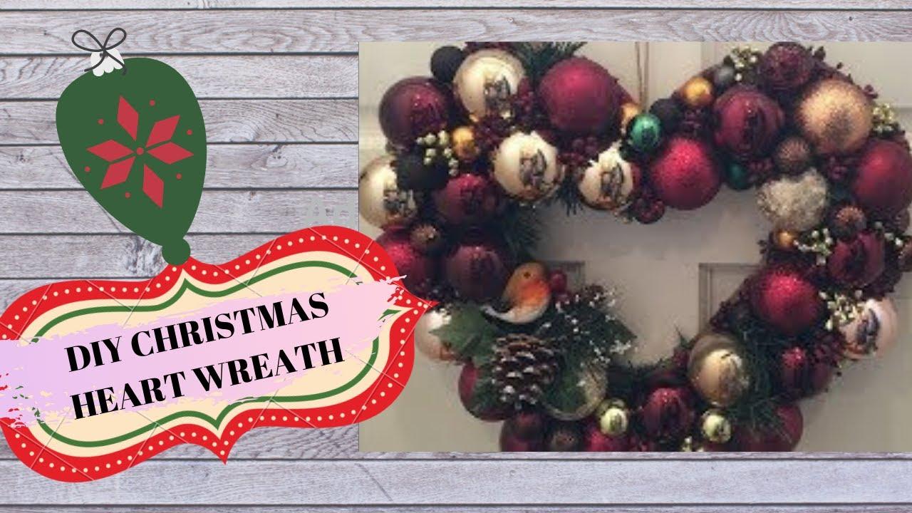 Christmas Heart Wreath.Diy Christmas Heart Wreath
