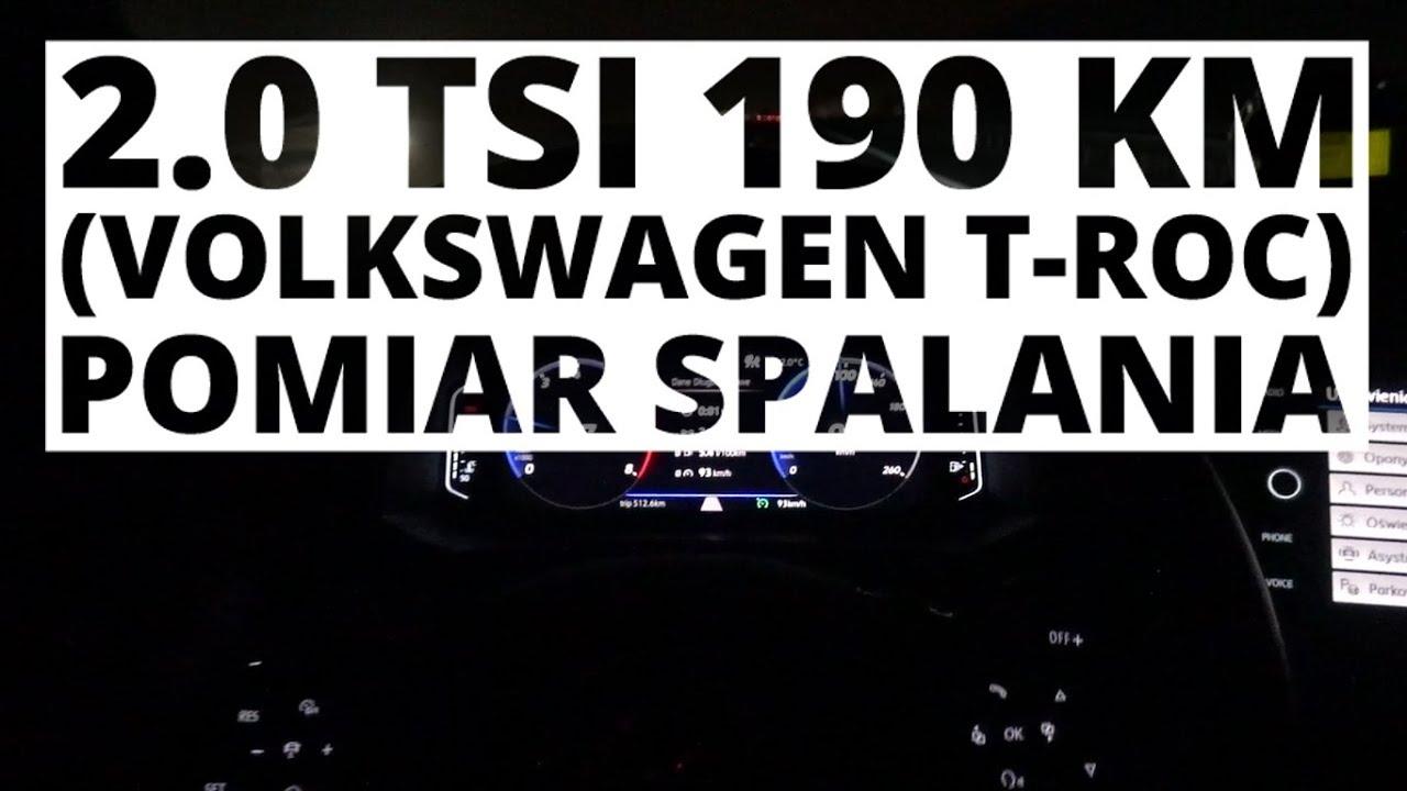 Volkswagen T-Roc 2.0 TSI 190 KM (AT) – pomiar zużycia paliwa