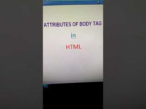 How To Use Body Tag Attributes In HTML
