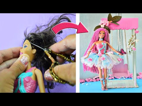 AMAZING FAIRY and HAIRSTYLE ~ DIY Barbie Hacks; Long Hair, Clothes, Shoes and MORE