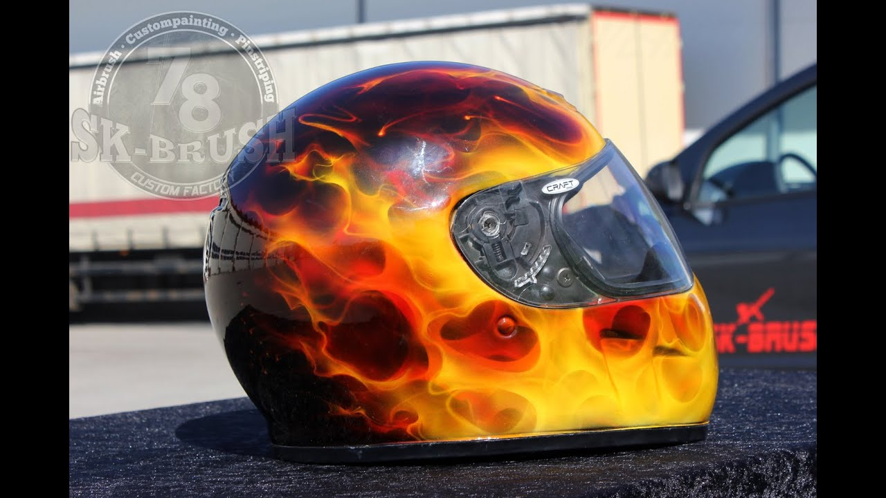 Helm Design airbrush true helmet painting barracuda rxx feuer flammen