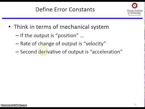 System type, steady state error Part 1