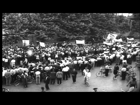 Iranian public demonstrations in favor of nationalizing Anglo-Iranian Oil Company HD Stock Footage