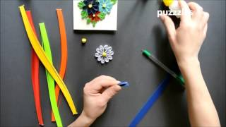 Как сделать цветок-ромашку - квиллинг/Quilling tutorial How to make  chamomile