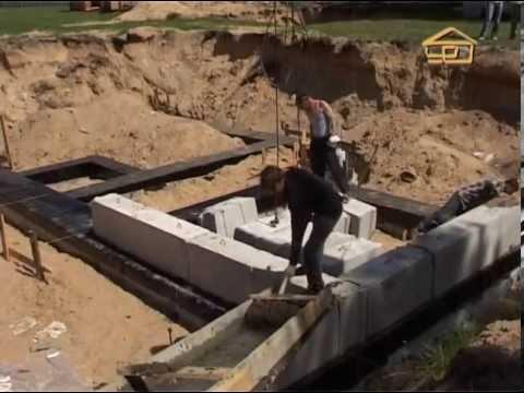 41.  Фундамент из блоков ФБС поверх ленточного фундамента - Строить не перестроить
