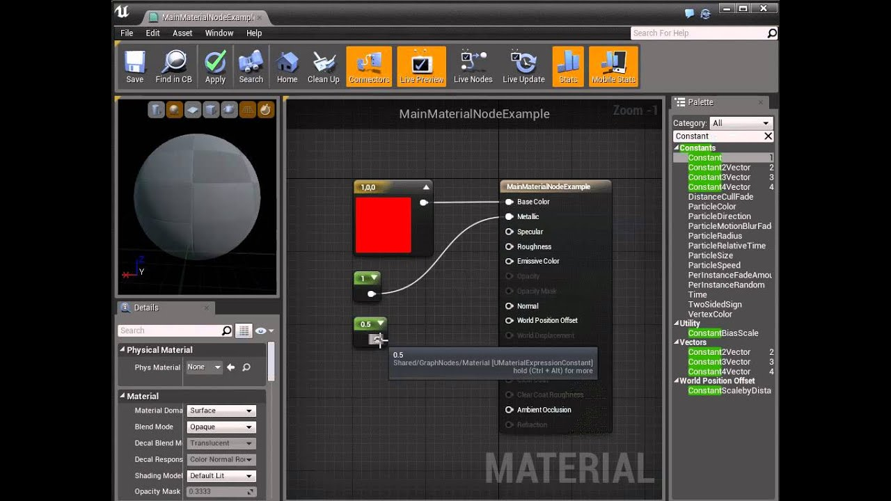 Using the Main Material Node | Unreal Engine Documentation