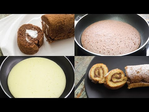 SWISS ROLL CAKE IN 5 MINUTES IN FRY PAN I EGGLESS & WITHOUT OVEN