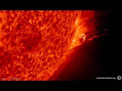Solar flare - Strong eruption on sunspot 1520 (July 23, 2012) SDO AIA 304 - Video Vax