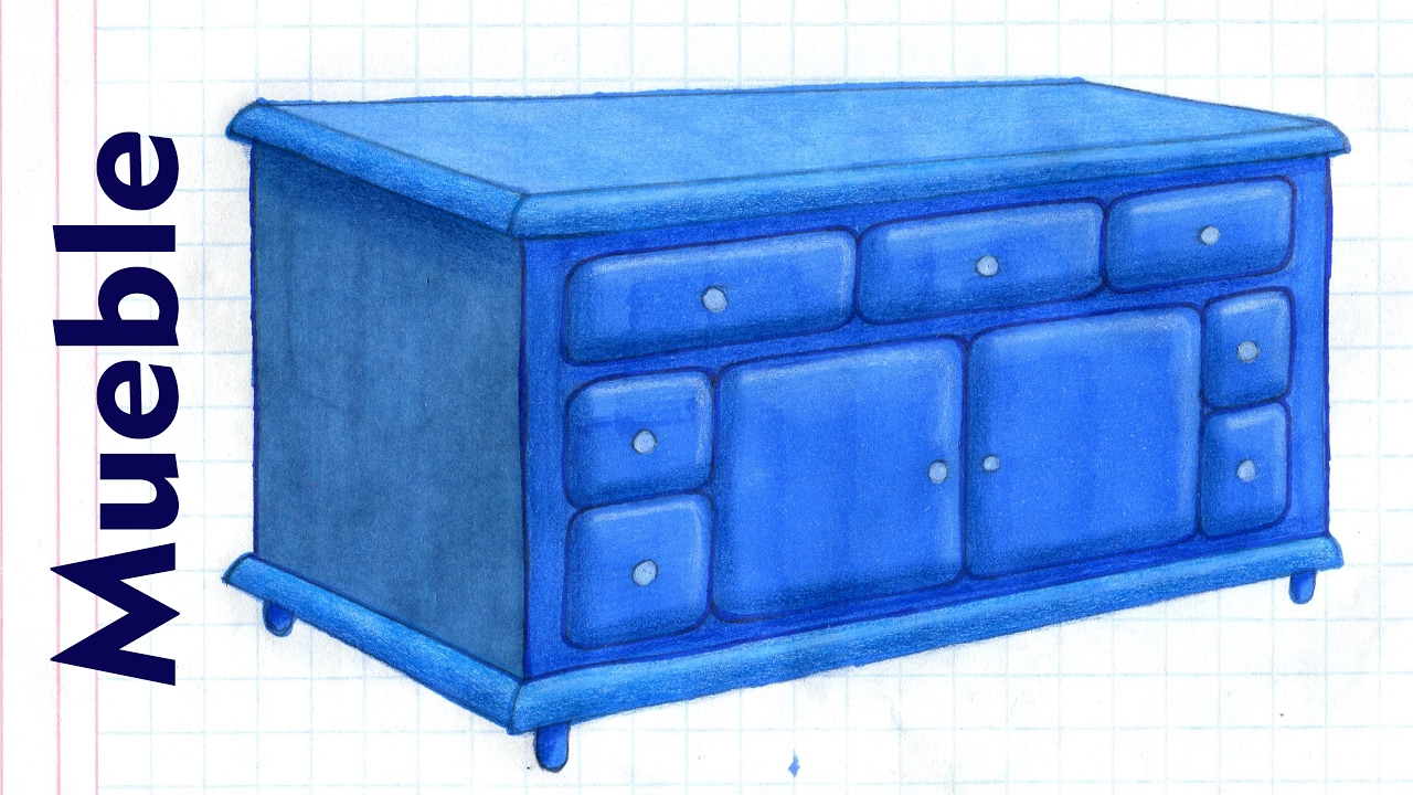 Como dibujar y colorear un mueble credenza comoda muebles for Como empapelar un mueble