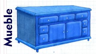 Como dibujar y colorear UN MUEBLE Credenza Comoda Muebles Casa Tutorial ILUSTRA SHOW