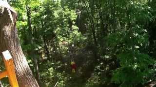 Ontario Tourist Gord and the Guide at TreeTop Trekking, Huntsville Muskoka