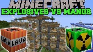 MORE EXPLOSIVES MOD VS HILLSIDE MANOR - Minecraft Mods Vs Maps (Nukes, Bombs, Lava) thumbnail