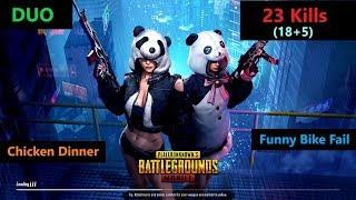 "[Hindi] PUBG Mobile | ""23 Kills"" Amazing Duo Match & Funny Bike Fails"