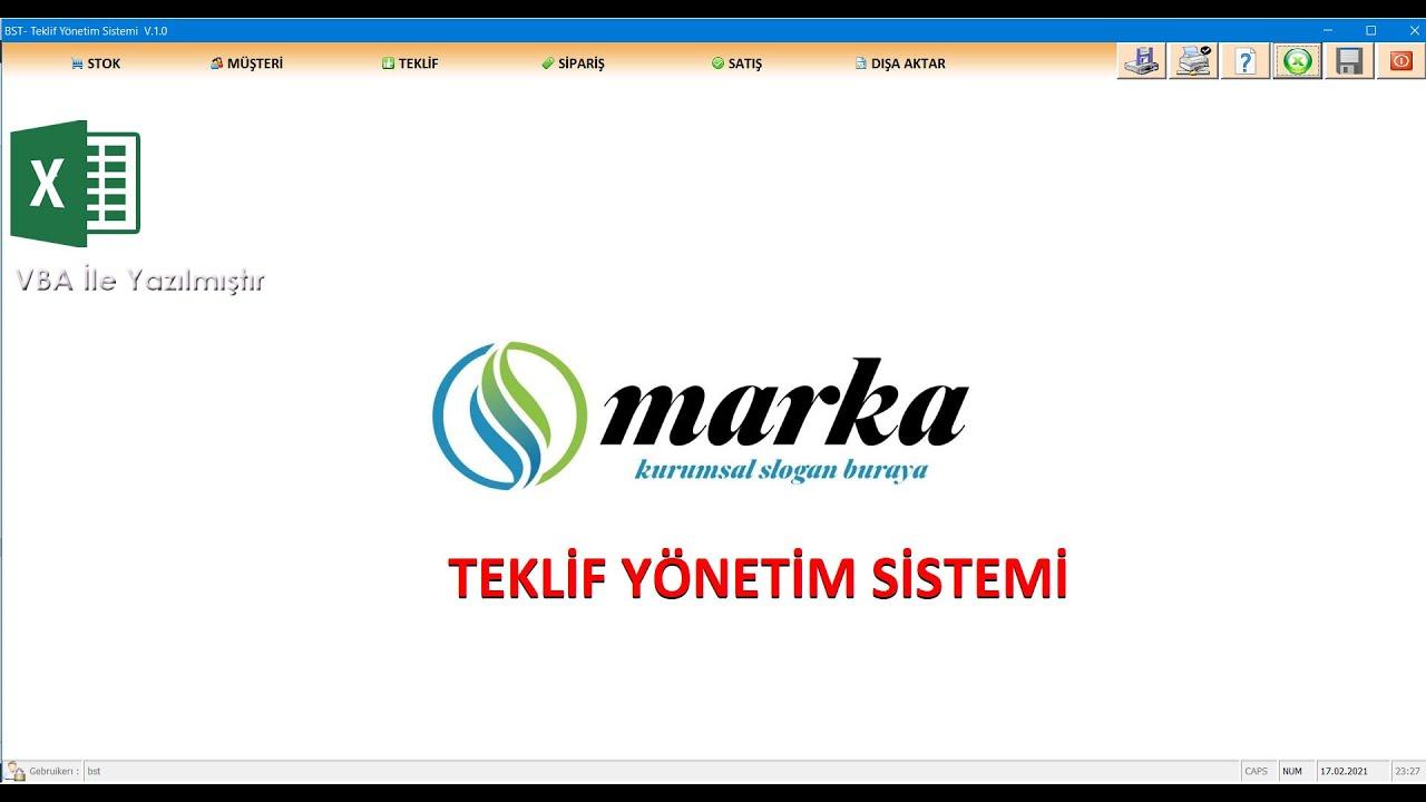 Excel VBA ile TEKLİF YÖNETİM SİSTEMİ - Tanıtımı