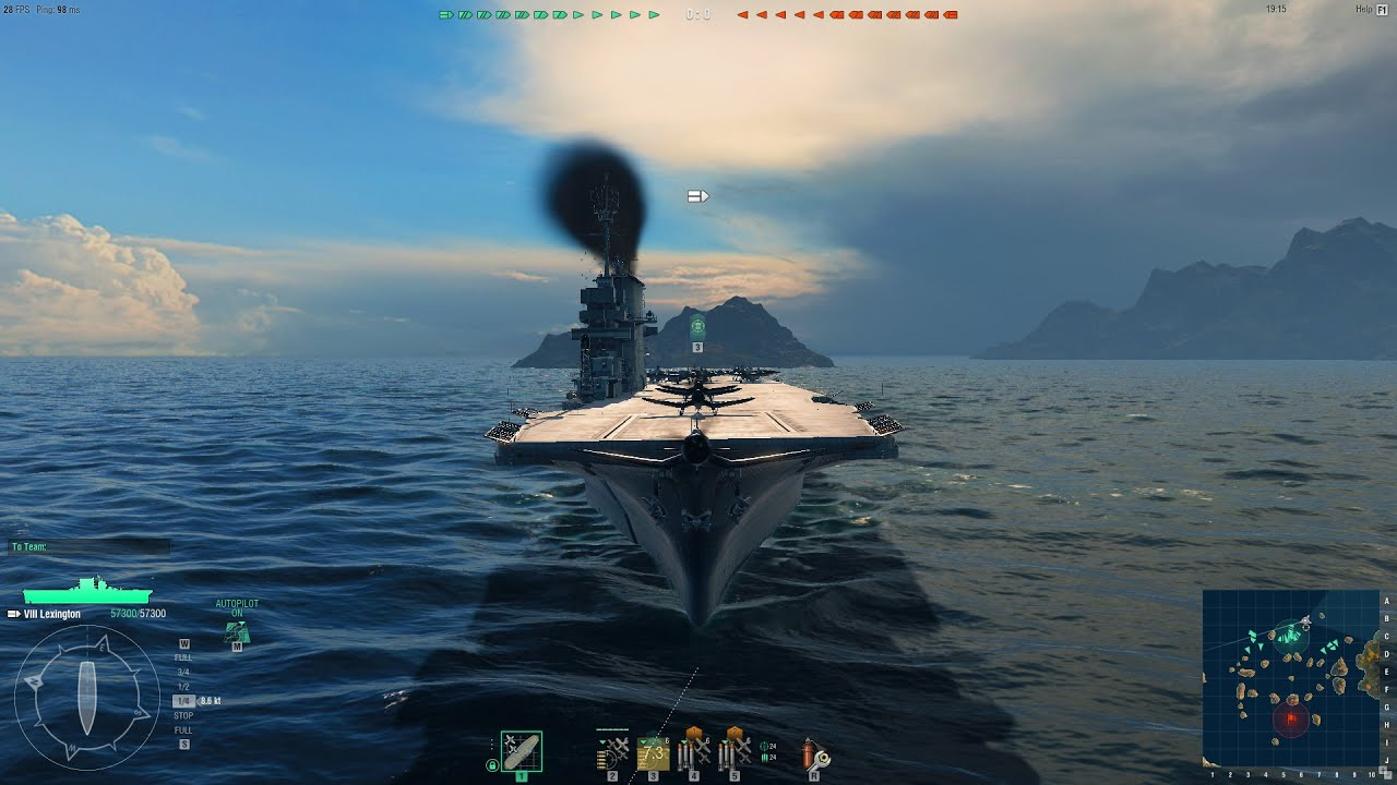 world of warships cv game play  uss lexington  cv