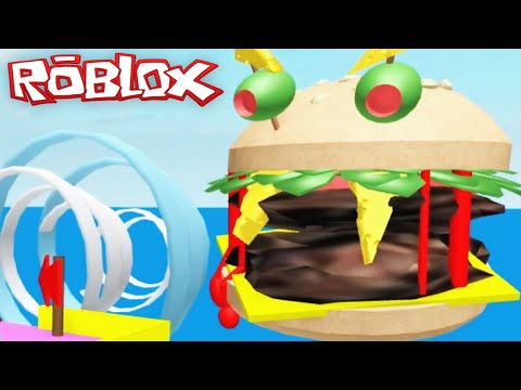Roblox Adventures / Escape a Giant Burger Obby / Hot Dog in a Cheeseburger?!