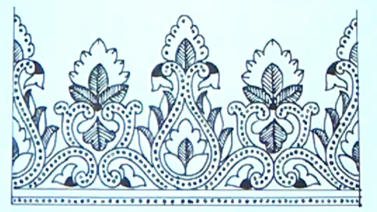 Draw Embroidery Saree Borders Designu0026#39;s For Hand Embroidery Design On Pencil Sketch - YouTube