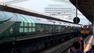 【鳥取駅】やばい加速と煙で発車するキハ187系スーパーおき5号とTWILIGHT EXPRESS瑞風の並び(2017/3/19)