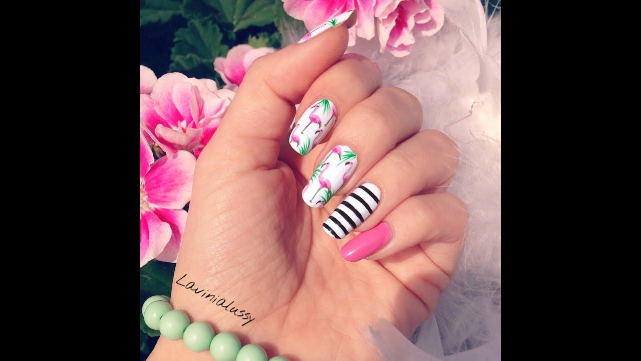 Popolare Tutorial unghie con Fenicotteri - FLAMINGO nail-art - YouTube KY98