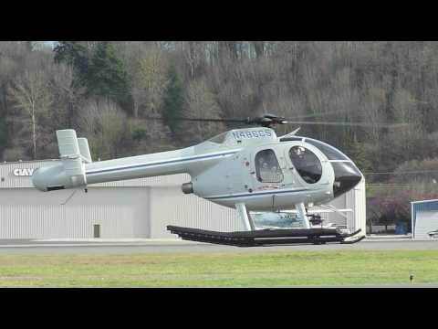 MD520 Notar Helicopter practicing emergency maneuvers at KBFI Seattle