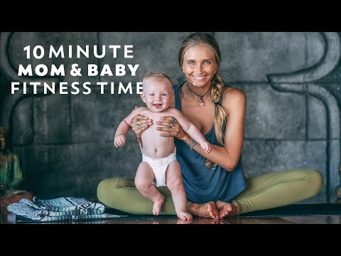 Postnatal Yoga Workout   10 Min Fun Post Pregnancy Fitness With BABY! - YouTube