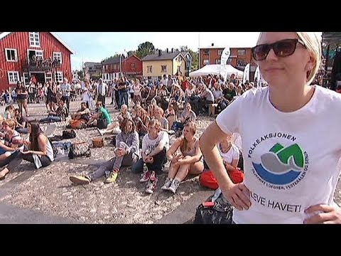 Young people protest against oil drilling in Norway's arctic