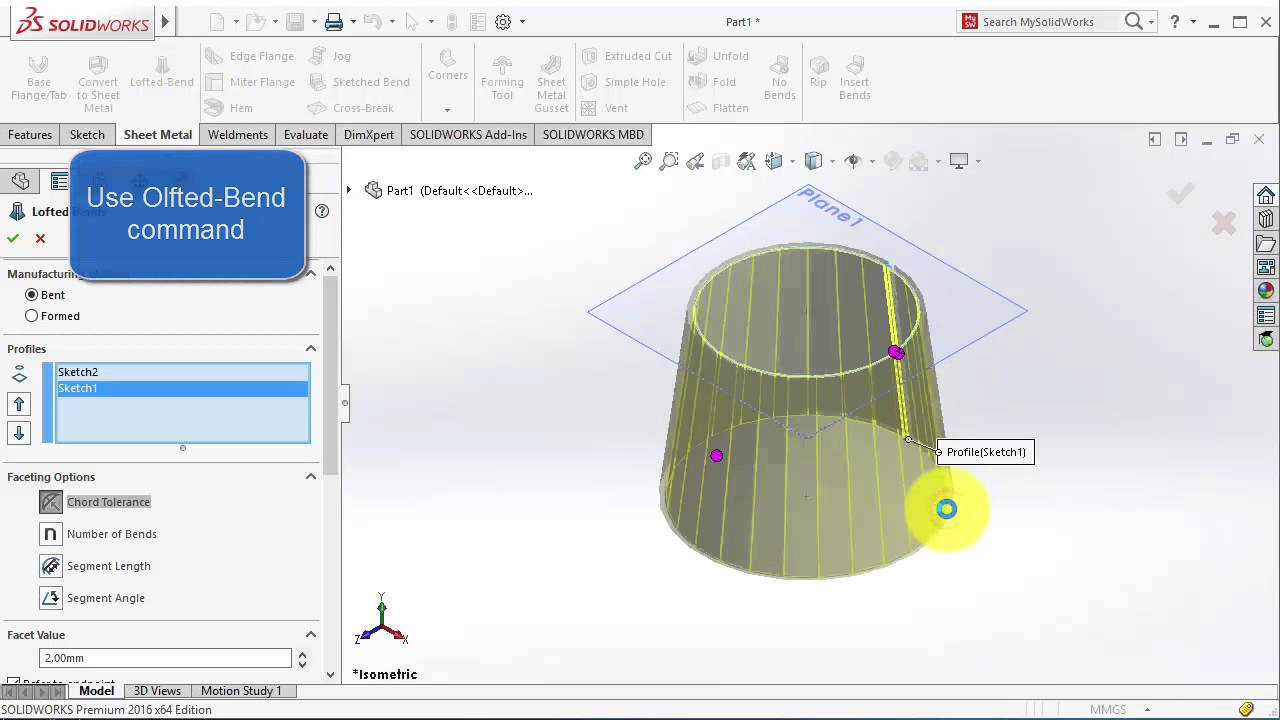 Loft Bend Command Solidworks 2016 Youtube