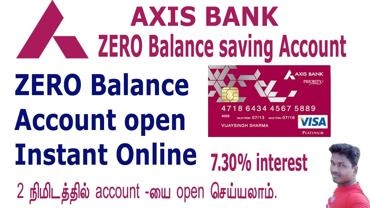 How to open zero balance saving account in Axis bank through online