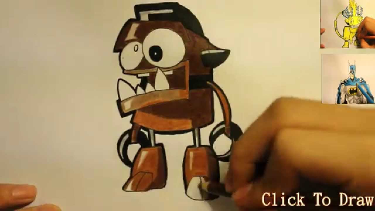 How To Draw Mixels Characters How To Draw Chomly From Mixels Youtube