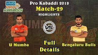 Match 29 : U Mumba vs Telugu Titans (41-20) Pro Kabaddi 2018 Match Details Highlights Result Winner