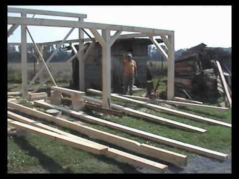 Building the carport and wood shed - 22.08.2010 - YouTube
