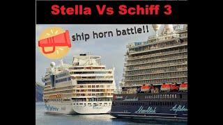 Cruise ship horn AIDAstella vs Mein Schiff 3
