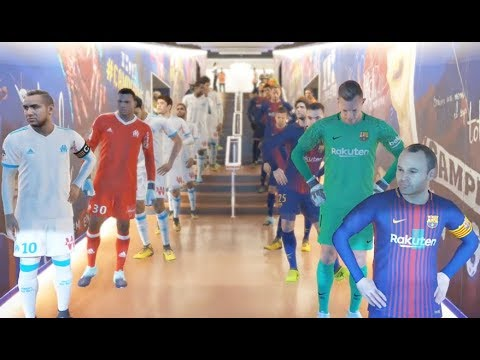 Olympique de Marseille vs FC Barcelona PES 2018 Difficulté Superstar Gameplay PC
