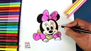 Cómo dibujar a Bebe Minnie (Mickey Mouse) | How to draw Baby Minnie Mouse