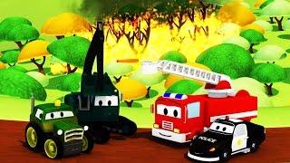 Авто Патруль Пожарная машина и полицейский автомобиль: лесные пожары в Road Town | мультфильм о