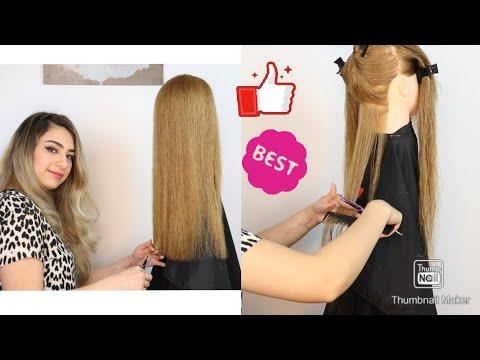 قص الشعر طول واحد ومتساوي بالبيت One Length Hair Cut At Home Youtube