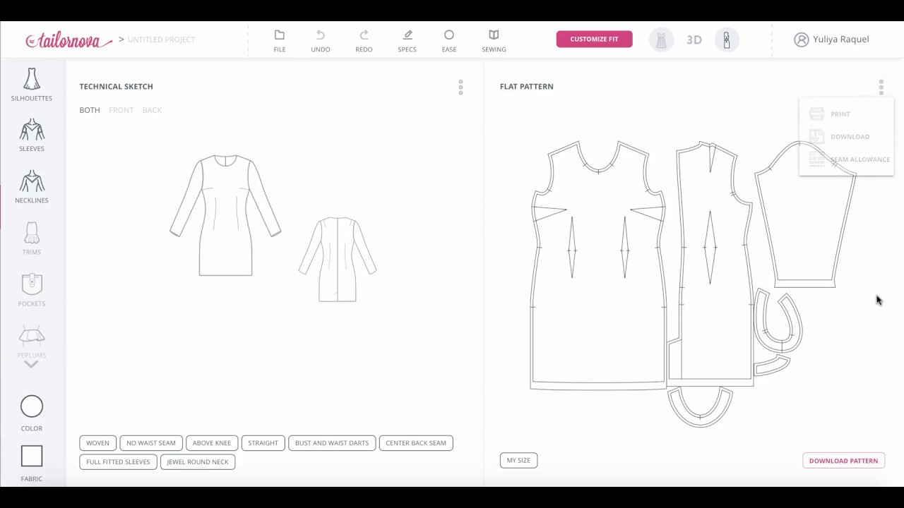DIY Pattern Making With Tailornova - Download PDF and DXF Sewing ...