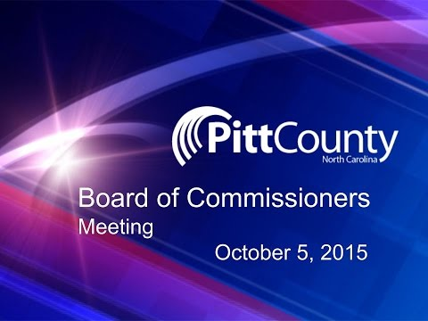 Pitt County Commissioners meeting for 10/5/2015