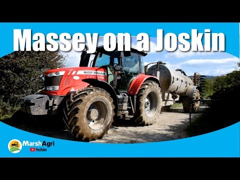 Massey Ferguson 7718 on a Joskin Trailing Shoe Tank HD