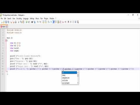 Fungsi Input/output dalam Bahasa C Menggunakan Noteped++