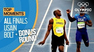Download Video Usain Bolt | ALL Olympic finals + Bonus round | Top Moments MP3 3GP MP4
