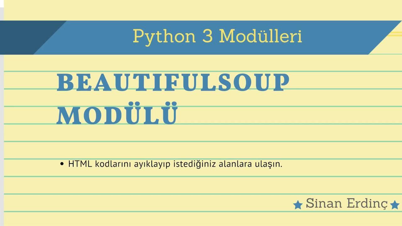 Python Beautifulsoup Modl Kullanm 1 Youtube