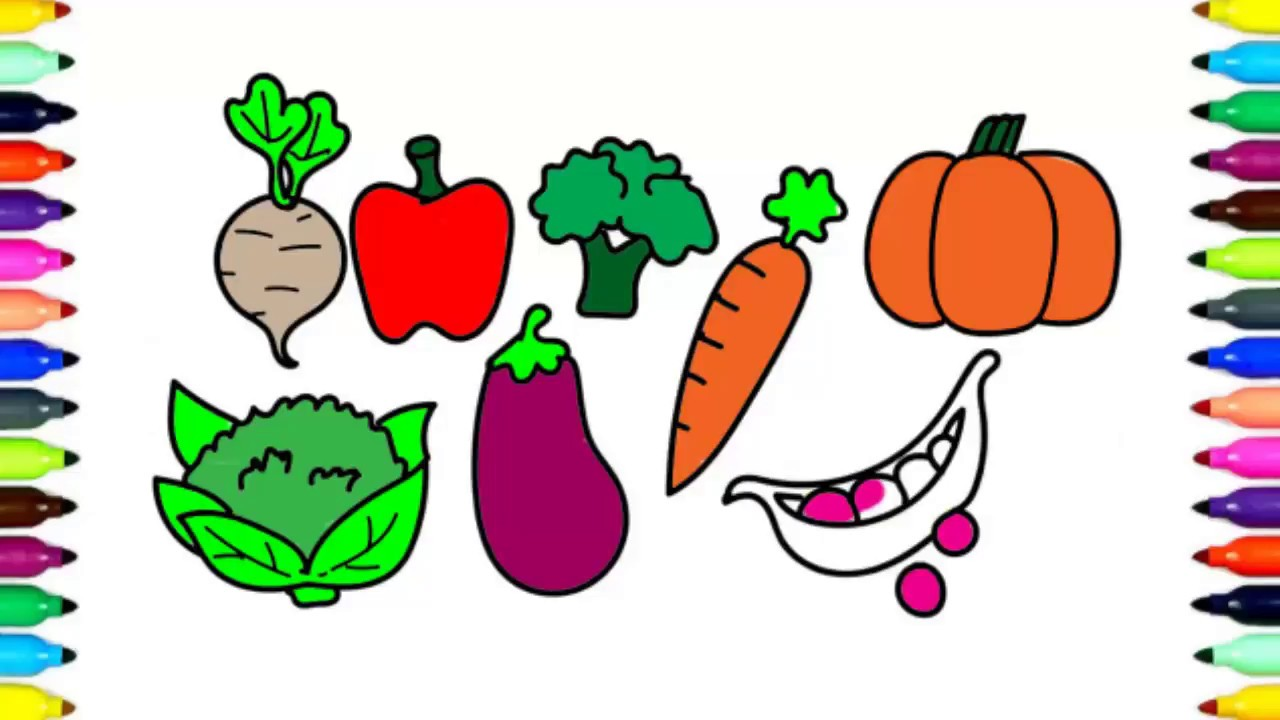 Фрукты Раскраска Рисование для Детей | Овощи для Детей ...