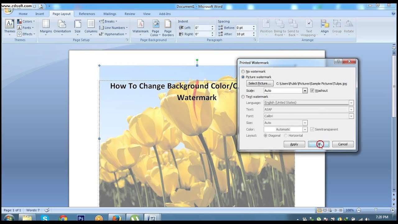 How To Change Background Color Or Printed Watermark In MS Word 2007 Lesson 38