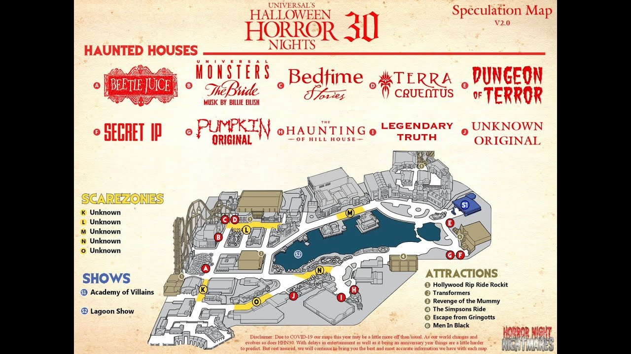 Halloween Horror Nights Map 2020 HHN 30 Speculation Map #2   YouTube