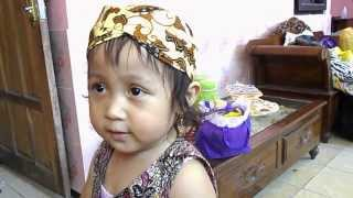 my niece, baby child, husna sing Indonesian children song,
